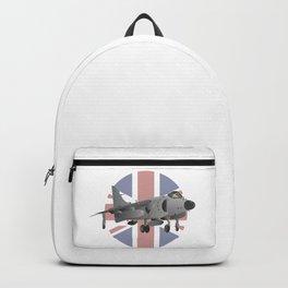 Sea Harrier Jet Fighter with UK Flag Backpack