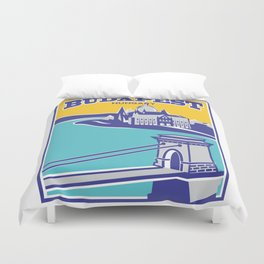 Budapest vintage poster, Chain Bridge Duvet Cover