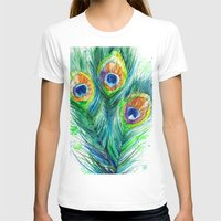 peacock feather T-shirts featuring Peacock feather  by Slaveika Aladjova