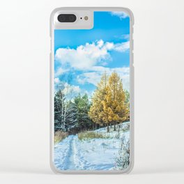 Larch in late autumn Clear iPhone Case