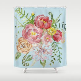 Bouquet of Watercolor on Blue Background Shower Curtain