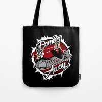 bombs away Tote Bags featuring Bombs Away Harley by Buby87