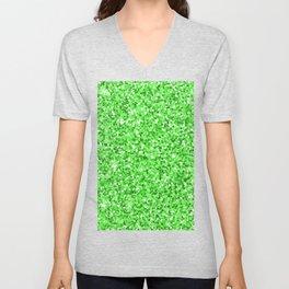 Abstract modern neon green glitter Unisex V-Neck