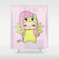 mlp Shower Curtains featuring A Boy - Fluttershy by Christophe Chiozzi