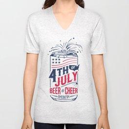 Typography Beer - Fourth of July Unisex V-Neck