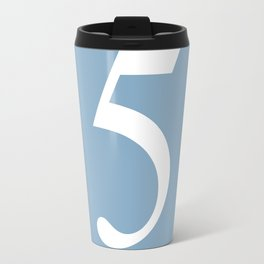 number five sign on placid blue color background Travel Mug