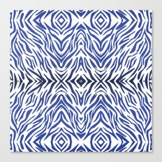 Blue Zebra Pattern Canvas Print