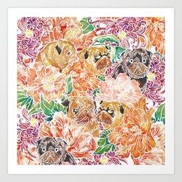 Because Pugs Watercolor Art Print