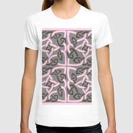 PINK & GREY CELTIC INTER-LOCKING PATTERNS T-shirt