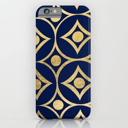 Elegant Navy Blue Faux Gold Abstract Geometric iPhone Case