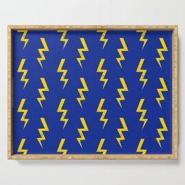Lightning bolt fun pattern decor blue and gold boys room nursery superhero Serving Tray