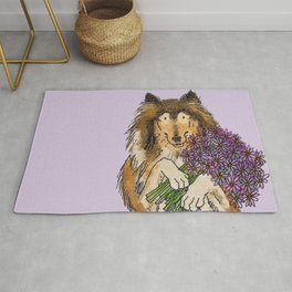 Collie with Flowers Rug