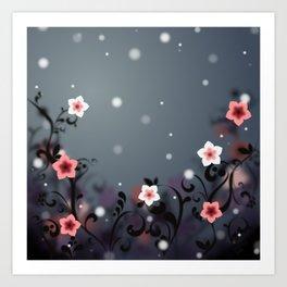 Pink and white flowers - Elegant Art Print