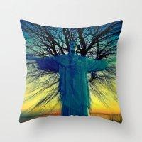 jesus Throw Pillows featuring jesus by  Agostino Lo Coco