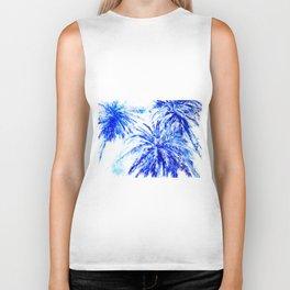 Blue Palm Trees beach california beach design aquatic beach blue design beach house Biker Tank