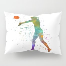 Woman volleyball player in watercolor Pillow Sham
