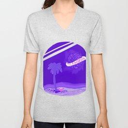 It's a Good Life purple beachy planet Unisex V-Neck