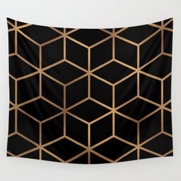 Black and Gold - Geometric Cube Design Wall Tapestry