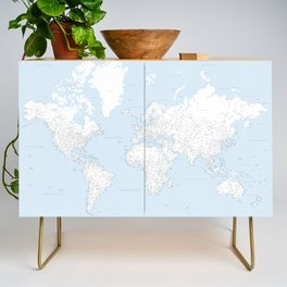 World map, highly detailed in light blue and white, square Credenza