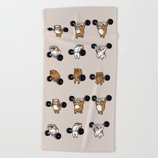 OLYMPIC LIFTING English Bulldog Beach Towel