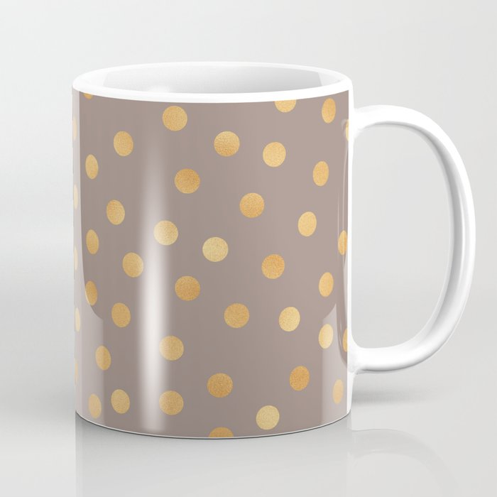 Rose Gold Polka Dots Mocha Golden Coffee Mug