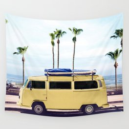 Surfer's Yellow Van Wall Tapestry