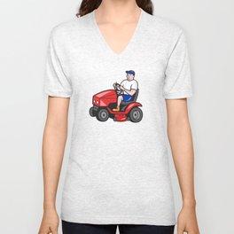 Gardener Mowing Rideon Lawn Mower Cartoon Unisex V-Neck
