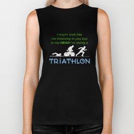 In My Head I'm Doing A Triathlon Funny Biker Tank