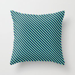 Tan, Green, Blue & Black Colored Lines Pattern Throw Pillow