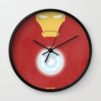 iron man Wall Clocks featuring Iron Man by Steal This Art