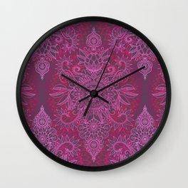 Magenta, Pink & Coral Protea Doodle Pattern Wall Clock