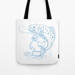 Fly Fisherman Trout Fishing Drawing Tote Bag
