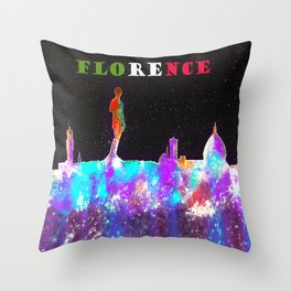 Florence Italy Skyline - With Banner Throw Pillow