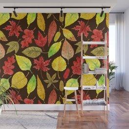 Autumn leaves watercolor dark Wall Mural