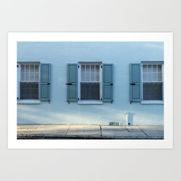 Blue Charleston Windows Art Print