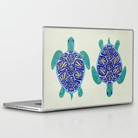 sea turtle Laptop & iPad Skins featuring Sea Turtle by Cat Coquillette