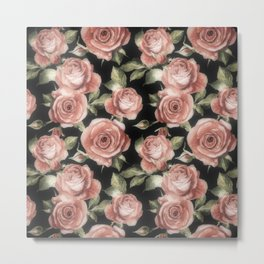 Classic Pink Roses On Black Metal Print
