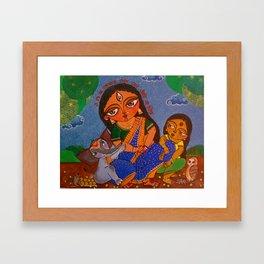 Parvati, with her children Ganesh and Lakshmi Framed Art Print