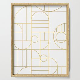 Minimalist Mid Century Modern Gold Pattern Serving Tray