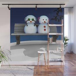 Snowman in Love Wall Mural
