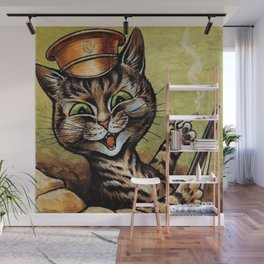'Hey, wait a minute!  You weren't supposed to be home 'til 11:00, dammit!' cat humorous print Wall Mural