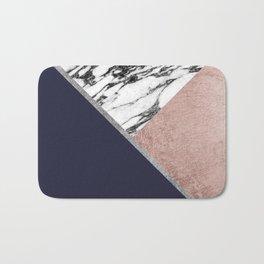 Marble Rose Gold Navy Blue Triangle Geometric Bath Mat