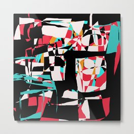 Abstract Boxes in Aqua, Red, Black, and Gold Metal Print