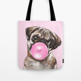 Pug with Pink Bubble Gum Tote Bag