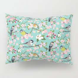 Blossom and Birds Turquoise Print Pillow Sham