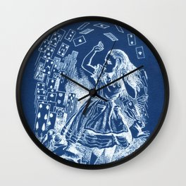 Card Alice in Wonderland Cyanotype Wall Clock