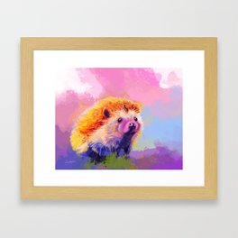 Sweet Hedgehog, cute pink and purple animal painting Framed Art Print