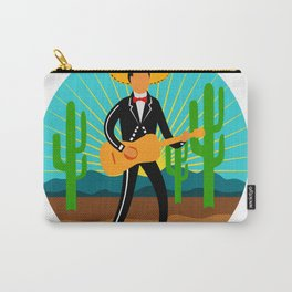 Mexican Mariachi in Desert Circle Retro Carry-All Pouch