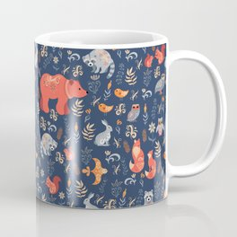 Fairy-tale forest. Fox, bear, raccoon, owls, rabbits, flowers and herbs on a blue background. Seamle Coffee Mug