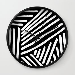 Graphic Painted Lines - white on black Wall Clock